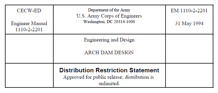 Arch Dam Design Engineer Manual By U S Army Corps Of Engineers Civil Mdc