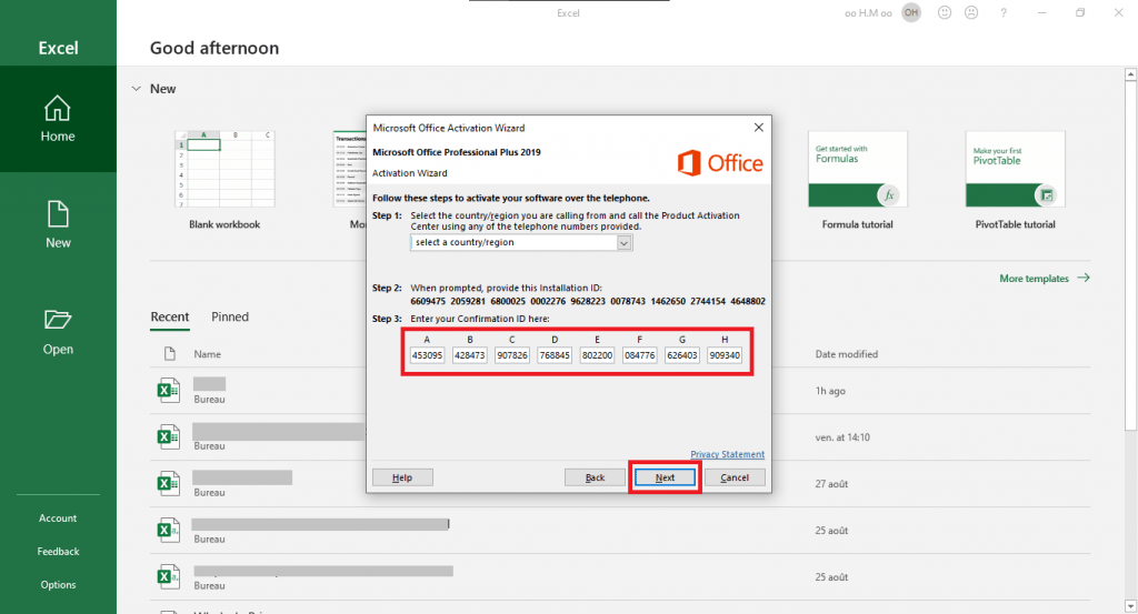 Activate Microsoft Office 2019 online phone activation